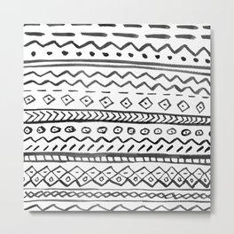 Black white hand made watercolor aztec pattern  Metal Print
