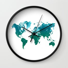 Green watercolor world map Wall Clock