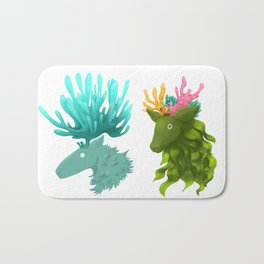 Coral deer -  Blue and kelp Bath Mat