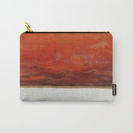 Northern Lights (red) Original Encaustic Painting Carry-All Pouch