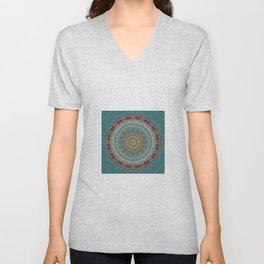 Vintage Turquoise Mandala Design Unisex V-Neck