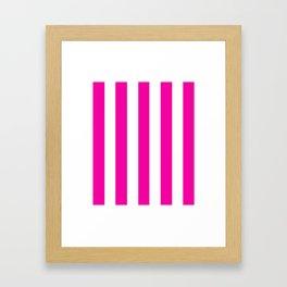 Hollywood cerise pink - solid color - white vertical lines pattern Framed Art Print