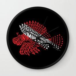Tribal Scuba Flag Lionfish Wall Clock