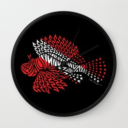 Tribal Scuba Flag Lionfish Wall Clock