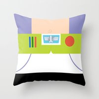 buzz lightyear Throw Pillows featuring Buzz Lightyear Minimalist by redastherose