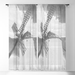 wind mill landscape digital aquarell aqbw Sheer Curtain