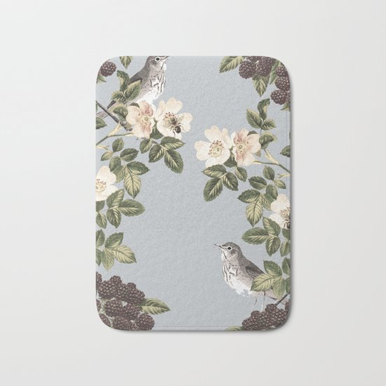 Birds and the Bees Gray Bath Mat