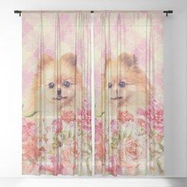 Cute Pomeranian German Spitz wiht Flowers Sheer Curtain