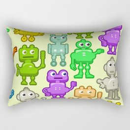 Background with funny robots Rectangular Pillow