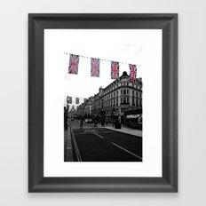 Buses and Bunting, black&white Framed Art Print