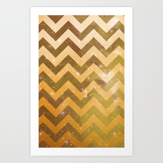 Golden Space Chevron Art Print
