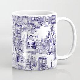 Doctor Who Toile de Jouy | 'Walking Doodle' | Blue Coffee Mug
