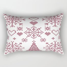 Christmas Cross Stitch Embroidery Sampler Pink And White Rectangular Pillow