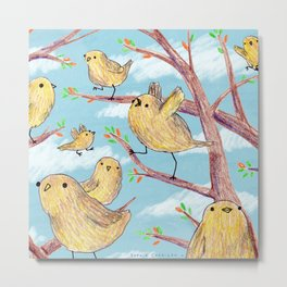 Yellow Birds in a Tree Metal Print