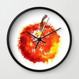 Watercolor grunge apple Wall Clock