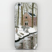 toddler iPhone & iPod Skins featuring Children Building A Snowman by Yuliya