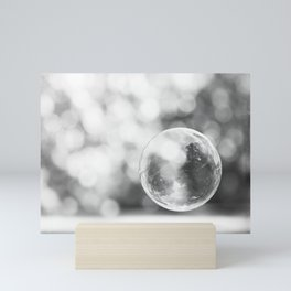Black and White Bubble Photography, Grey Laundry Art, Gray Bathroom Decor Bubbles Laundry Room Photo Mini Art Print