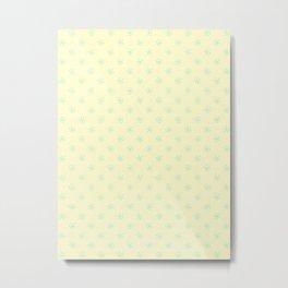 Magic Mint Green on Cream Yellow Snowflakes Metal Print