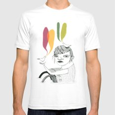 bird song MEDIUM Mens Fitted Tee White