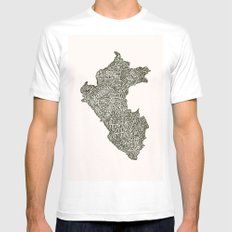 Lettering map of Perú Mens Fitted Tee White MEDIUM