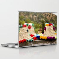 hats Laptop & iPad Skins featuring Straw hats by Simon Ede Photography