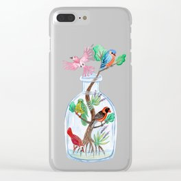 Birds in a Bottle Watercolor Painting Clear iPhone Case