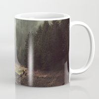 john green Mugs featuring Foggy Forest Creek by Kevin Russ