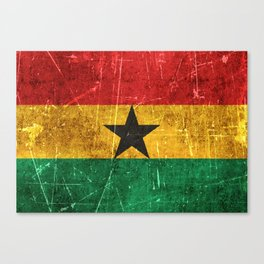 Vintage Aged and Scratched Ghana Flag Canvas Print