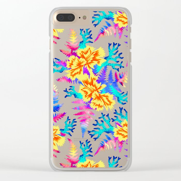 Coral Carnation - Yellow/Blue Clear iPhone Case