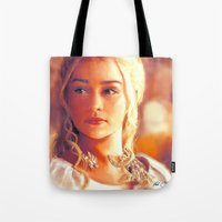 mother of dragons Tote Bags featuring Mother of Dragons by markclarkii