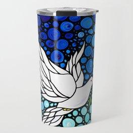 Peaceful Journey - Vibrant white dove by Labor Of Love artist Sharon Cummings. Travel Mug