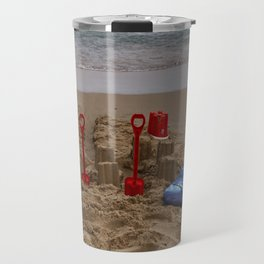 sandcastles, boards, buckets and spades at the beach Travel Mug