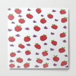 Strawberries and Ladybugs Metal Print