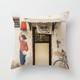 George Town, Penang Street - Laksa Time Throw Pillow