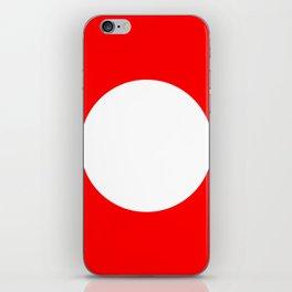 White circle on red iPhone Skin