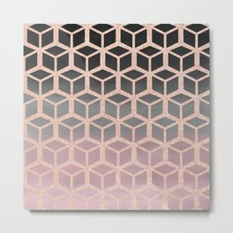 mauve ombre with rose gold hexagons Metal Print