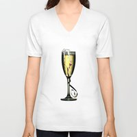 champagne V-neck T-shirts featuring Champagne by CokecinL