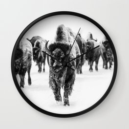 Bisons, black and white Wall Clock