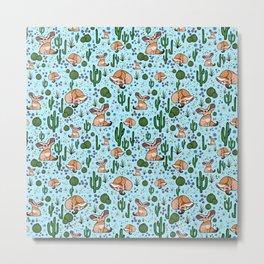 Cute Desert and Fennec Fox Pattern Metal Print
