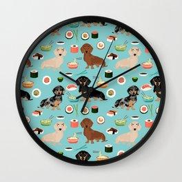 dachshund sushi multi coat doxie dog breed cute pattern gifts Wall Clock