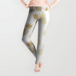 Gold Pineapple Pattern Leggings