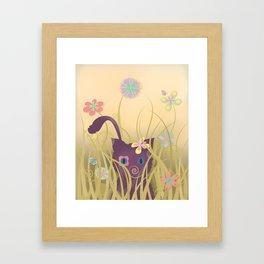 Wild Kitty Cat, Spring Blooming Flowers, Golden Beige Sky Framed Art Print