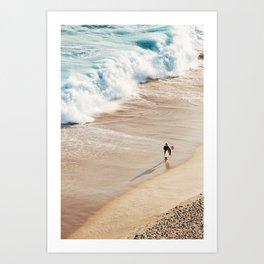 Surfer on the beach Art Print