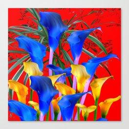 YELLOW & AZURE BLUE CALLA LILIES RED ART Canvas Print
