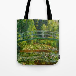 Claude Monet Impressionist Landscape Oil Painting-The Japanese Footbridge and the Water Lily Pool Tote Bag