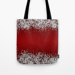 Shiny Red Texture With Silver Sparkles Tote Bag