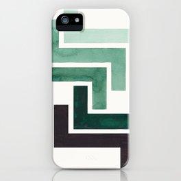 Deep Green Pattern Mid-century Modern Simple Geometric Pattern Watercolor Minimalist Art Squares iPhone Case
