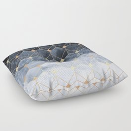 Blue Hexagons And Diamonds Floor Pillow