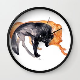 Two Wolves Wall Clock