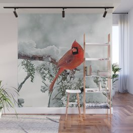 Cardinal on Snowy Branch (sq) Wall Mural